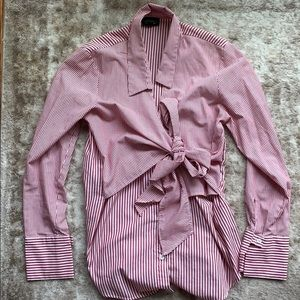 Topshop poplin red pinstripe button up blouse